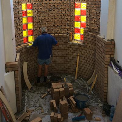 Muro interno in mattoni a vista